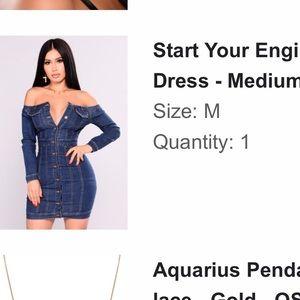 Jean blue dress, fashion nova! Medium